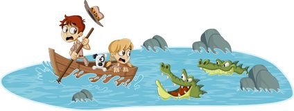 Cartoon children on a boat running from alligators. Adventure on dangerous river with crocodiles royalty free illustration