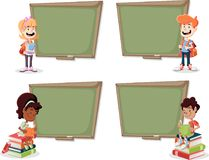 Cartoon children with books in front of green chalkboard blackboard. Students Royalty Free Stock Photo
