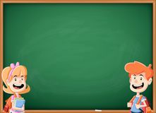 Cartoon children with books in front of green chalkboard blackboard. Students with backpack Stock Photography