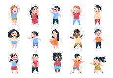Cartoon children. Boy and girl school characters, happy little child, elementary school group. Vector student kids royalty free illustration