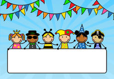 Cartoon children in carnival costumes hold a poste. R. Children are on a blue background with multicolored flags Stock Images