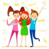 Cartoon children character. Kids smile, make selfie.  Stock Photography