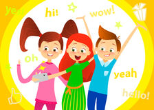 Cartoon children character. Kids smile, make selfie. Happy girls and boy enjoy taking selfie with photo camera. Child photography. Stock Photos