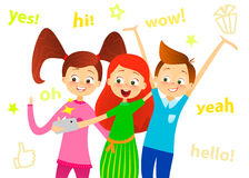 Cartoon children character. Kids smile, make selfie. Happy girls and boy enjoy taking selfie with photo camera. Child photography. Stock Image