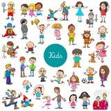 Cartoon children characters large set vector illustration