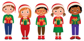 Cartoon children with Christmas gifts  on white background Royalty Free Stock Photos