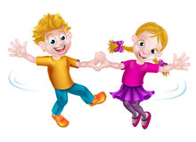 Cartoon Children Dancing Royalty Free Stock Photo