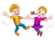Cartoon Children Dancing Royalty Free Stock Photo