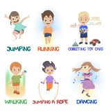 Cartoon of children doing different fun activities vector illustration