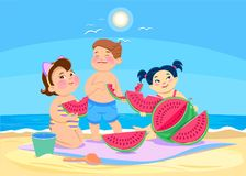 Cartoon children eating watermelon on the beach. Summer vector illustration Royalty Free Stock Image