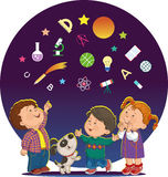 Cartoon children with education icons. Band of merry children look at the stars and icons of education royalty free illustration