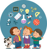 Cartoon children with education icons. Conceptual illustration of cheerful children with education icons in a circle stock illustration