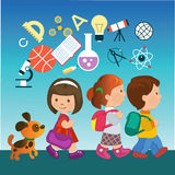 Cartoon children with education icons. Cartoon kids going to school with education icons. Concept of modern education stock illustration