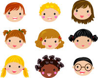 Cartoon children face. Set of cartoon children face ,illustration Royalty Free Stock Image