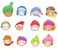 Cartoon children face icon Royalty Free Stock Images