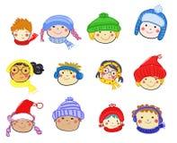 Cartoon children face icon stock photo