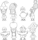 Cartoon children with fruits,vector Stock Image