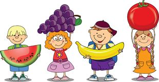 Cartoon children with fruits,vector royalty free illustration