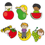 Children with fruits Stock Images