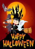 Cartoon children and ghost with castle and moon background Royalty Free Stock Photo