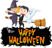 Cartoon children with ghost fly using broom Stock Image