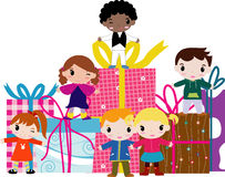 Cartoon children and gift box Royalty Free Stock Photography