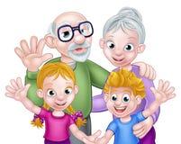 Cartoon Children and Grandparents Royalty Free Stock Photos