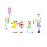 Cartoon Children Group Characters Hand Draw Stock Images