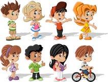 Cartoon children. Group of happy cartoon children Royalty Free Stock Photos