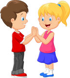 Cartoon children hand clapping games Stock Images