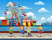 Cartoon of Children having fun on the lakeside with amusement park background. Illustration of Cartoon of Children having fun on the lakeside with amusement park royalty free illustration