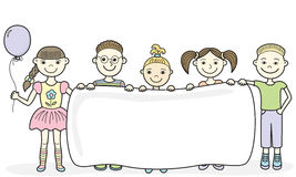 Cartoon children holding empty banner Royalty Free Stock Photo
