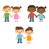 Cartoon children holding hands. Three pairs of cute cartoon children smiling and holding hands: older boys and smaller girls. Caucasian and African American Stock Photography