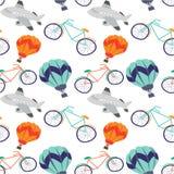 Cartoon children illustration - balloons, bicycle, aircraft vector illustration