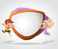 Cartoon children jumping Royalty Free Stock Images