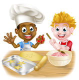 Cartoon Children Making Cakes Royalty Free Stock Image