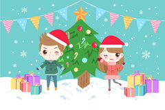 Cartoon children with merry christmas Royalty Free Stock Images