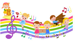 Cartoon children and music. Illustration of cute cartoon children and music Royalty Free Stock Image