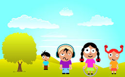 Cartoon children with nature scene Stock Image