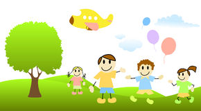 Cartoon children with nature scene Royalty Free Stock Photography
