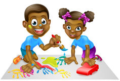 Cartoon Children with Paint and Blocks Royalty Free Stock Photography