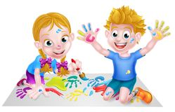 Cartoon Children Painting. Cartoon boy and girl playing together with paints Stock Photo
