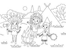 Cartoon children coloring vector illustration. Cartoon children play indians coloring vector illustration. Black and white image Royalty Free Stock Photography