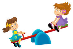 Cartoon children on a playground toy -  Royalty Free Stock Photography