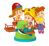 Cartoon children on a playground toy -  Stock Photo