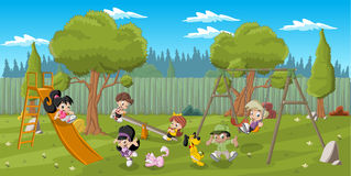 Cartoon Children Playing Stock Photography