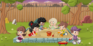 Cartoon children playing Royalty Free Stock Photo