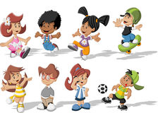 Cartoon children playing Stock Images