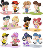 Cartoon children playing Stock Photos