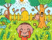 Free Cartoon Children Playing Hide And Seek In The Garden Stock Images - 174329344